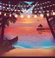 decorative holiday lights in beach background vector image vector image
