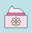 floral cosmetic lotion jar icon vector image vector image