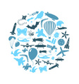 flying theme blue symbols and icons set in circle vector image vector image