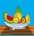 fresh and healthy set of fruits vector image vector image