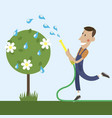 gardener is watering vector image vector image