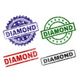 grunge textured diamond seal stamps vector image
