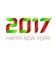 Happy new year 2017 text design green and red vector image