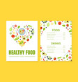 healthy food menu template vegetarian restaurant vector image