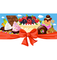 horizontal design with sweet food - cake chocolate vector image vector image