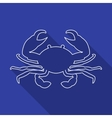 Icon Contour crab Flat style long shadows vector image