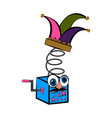joke box with a harlequin hat april fool day vector image