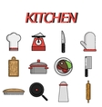 Kitchen flat icon set vector image vector image