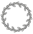 line art black and white candy cane wreath vector image vector image