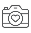 love camera line icon photography and valentine vector image vector image