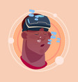 man sleeping african american male emoji wearing vector image