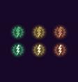neon icon set lightning bolt flash vector image vector image