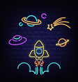 neon rocket ufo saturn planet and comet icons vector image
