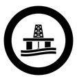 petroleum platform icon black color simple image vector image