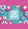 pink blue 8 march happy women s mother s day vector image