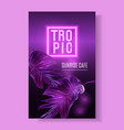 purple neon banner with tropical leaves vector image
