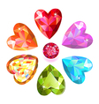 Seamless texture of colored heart cut gems vector image