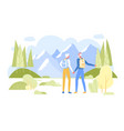 senior couple with backpacks admiring mountains vector image vector image