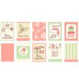 set christmas vertical gift tag card badge vector image