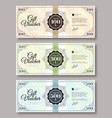 set gift voucher template various value vector image vector image