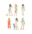 set girls with dogs vector image vector image