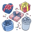 Set of pastel gift boxes with bows and ribbons vector image