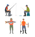sitting and standing fishermen colorful poster vector image vector image