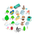 sweden icons set isometric style vector image vector image