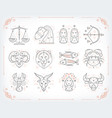thin line zodiacal symbols astrology vector image vector image