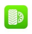 tire icon green vector image
