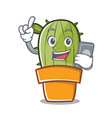 with phone cute cactus character cartoon vector image vector image
