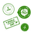 world environment day stamp icon set ecology vector image