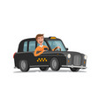 happy driver is driving taxi passenger