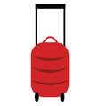 a red suitcase with wheels or color vector image