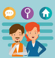 business couple avatars with social media vector image vector image