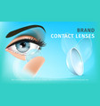 close up transparent soft contact lens on finger vector image vector image
