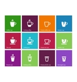 Coffee cup and Tea mug icons on color background vector image vector image