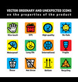color set icons properties products vector image