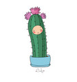 cute cartoon cactus and succulents in pots vector image vector image