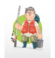 cute cartoon fisherman vector image vector image