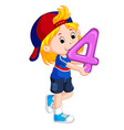cute child holding balloon with number four vector image vector image
