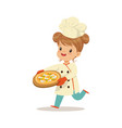 cute little girl running with a freshly cooked vector image vector image