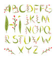 floral alphabet made of red berries and leaves vector image