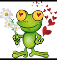 frog cartoon in love vector image vector image