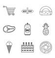 gastronomy market icons set outline style vector image vector image