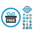 Gift Flat Icon with Bonus vector image