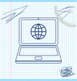 globe on screen laptop line sketch icon vector image vector image