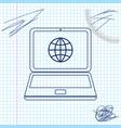 globe on screen laptop line sketch icon vector image vector image