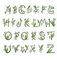 hand draw font in the form of branches and leaves vector image vector image