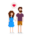 Hipster couple is in love and holding hands vector image vector image